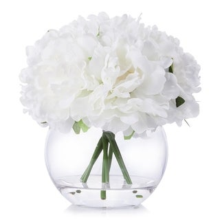 Enova Home White Artificial Peony Flower Arrangement in Clear Glass Vase With Faux Water