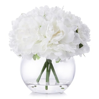 Enova Home White Artificial Peony Flower Arrangement in Clear Glass Vase With Faux Water - N/A
