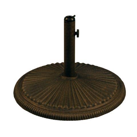 "Patio Umbrella Base Stand 24"" Cast Aluminum Heavy Duty Round Outdoor Garden, Antique Bronze"