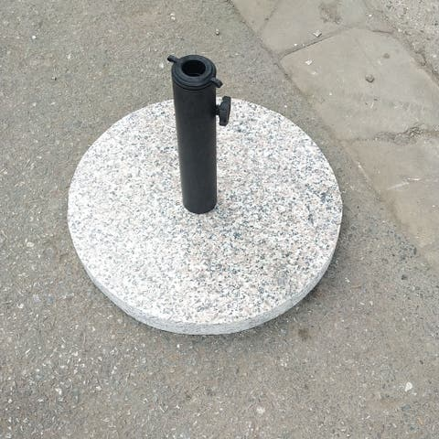 "18"" Outdoor Umbrella Base Granite Stone Umbrella Base Round Patio Garden Heavy Duty Umbrella Holder Stand"