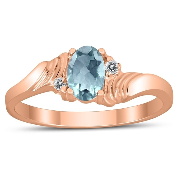 Shop 6X4MM Aquamarine And Diamond Wave Ring In 10K Rose