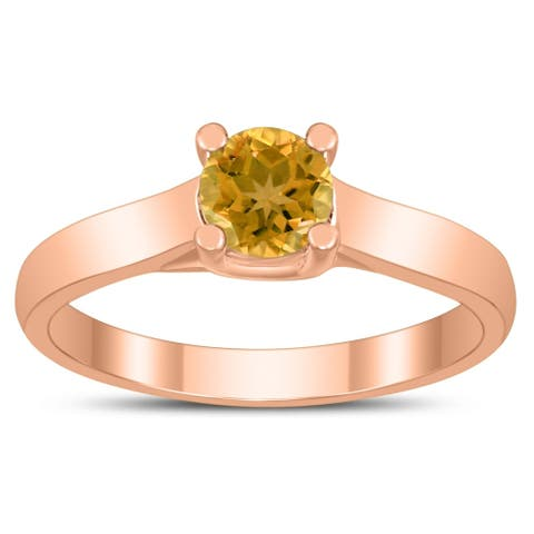 Round 5MM Citrine Cathedral Solitaire Ring in 10K Rose Gold
