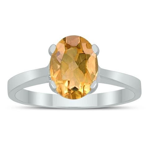 Oval Solitaire 8X6MM Citrine Ring in 10K White Gold