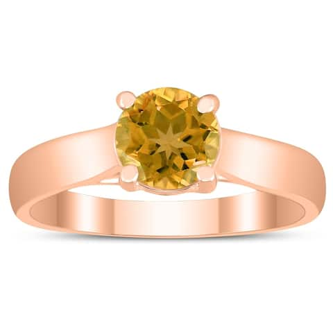 Round 6MM Citrine Cathedral Solitaire Ring in 10K Rose Gold