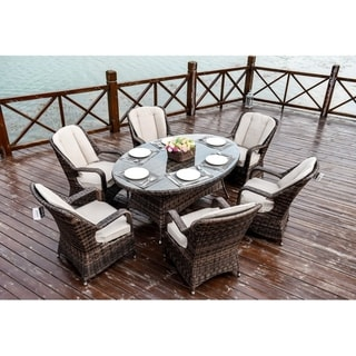 Moda 7-Piece Patio Wicker Oval Dining Table Set with Cushions