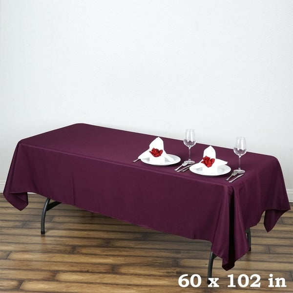 "Polyester Rectangle Wedding Tablecloth 60"" x 102"" Eggplant"