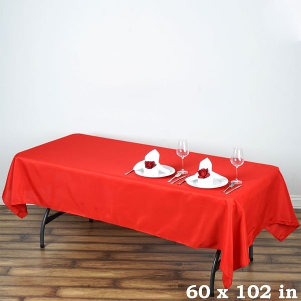 "Polyester Rectangle Wedding Tablecloth 60"" x 102"" Red"