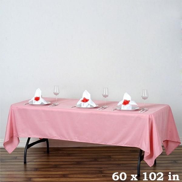 "Polyester Rectangle Wedding Tablecloth 60"" x 102"" Rose Quartz"