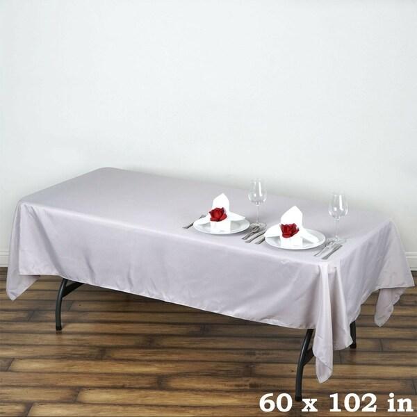 "Polyester Rectangle Wedding Tablecloth 60"" x 102"" Silver"