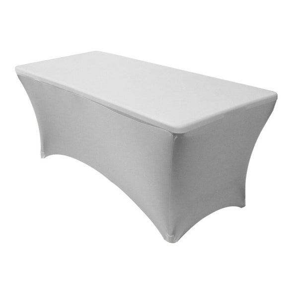 "Stretch Spandex Rectangular Tablecloths 4 Foot (48"" x 30"") Silver"