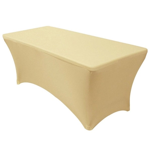 "Stretch Spandex Rectangular Tablecloths 4 Foot (48"" x 30"") Champagne"