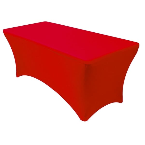 "Stretch Spandex Rectangular Tablecloths 4 Foot (48"" x 30"") Red"