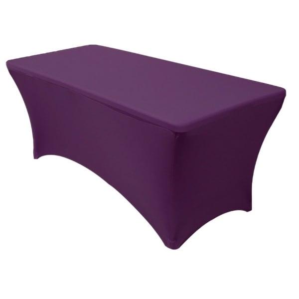 "Stretch Spandex Rectangular Tablecloths 6 Foot (72"" x 30"") Eggplant"