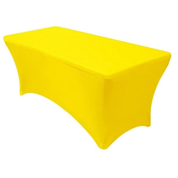 "Stretch Spandex Rectangular Tablecloths 6 Foot (72"" x 30"") Yellow"