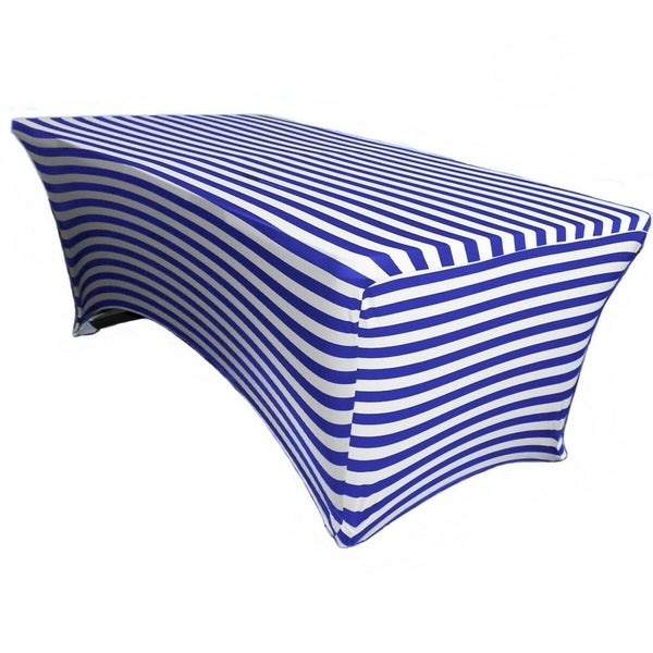 "Stretch Spandex Rectangular Tablecloths 6 Foot (72"" x 30"") Royal Blue/White Striped"
