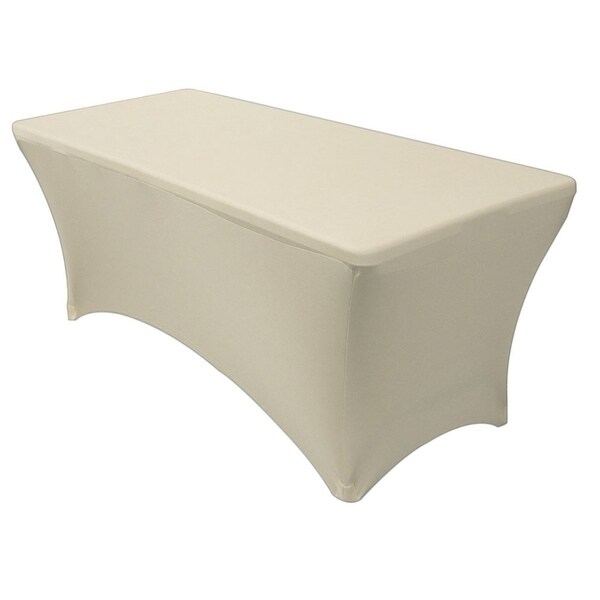 "Stretch Spandex Rectangular Tablecloths 8 Foot (96"" x 30"") Ivory"