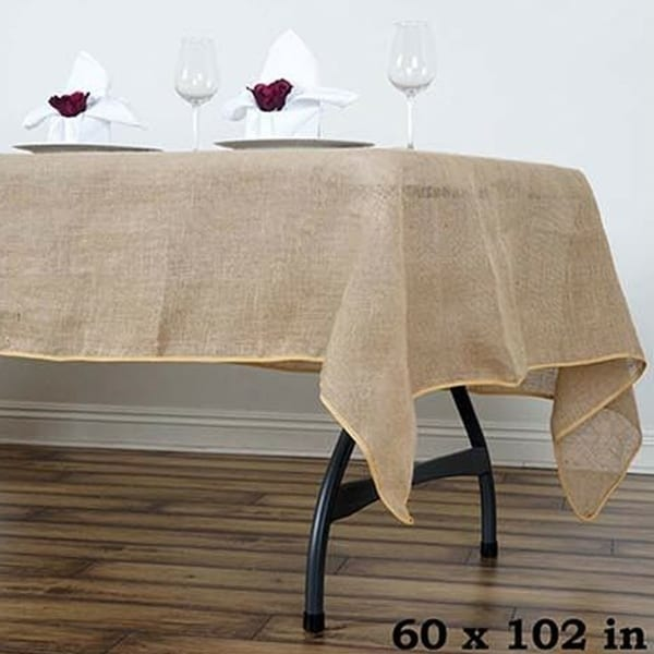 "Burlap Rectangle Tablecloth 60"" x 102"""