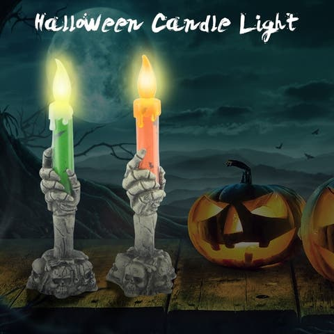 Halloween Ghost Skull Candle Light LED Electronic Candle Light Battery Operated Halloween Party Decor Prop