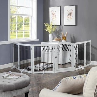 Unipaws Pet Playpen for Dogs, Freestanding 6 Panels Dog Gate