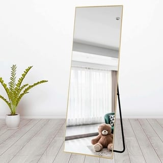 Aluminum Alloy Thin Frame Full Length Floor Mirror Hanging or Leaning - N/A