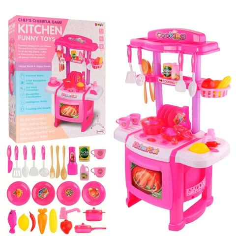 Play Kitchen Toy Sets for Kids Kitchen Playset with Realistic Sounds and Lights, Kitchen Food Accessories