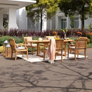 Link to Chara 7-piece Teak Patio Extendable Dining Set by Havenside Home Similar Items in Patio Furniture