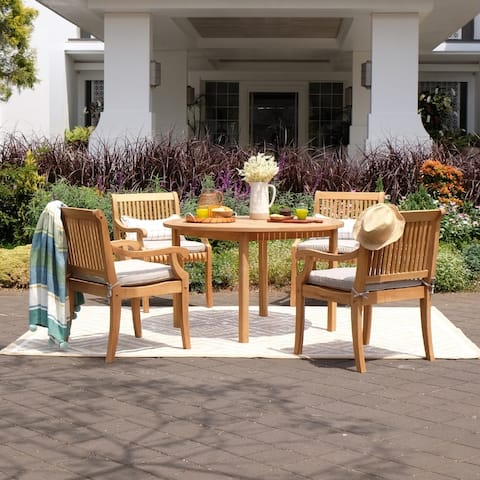 Chara 5-piece Teak Patio Dining Set with Cushion by Havenside Home