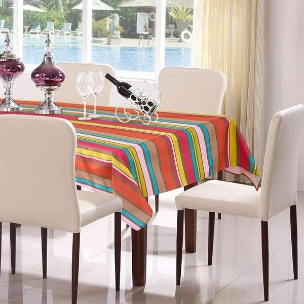 "Polyester Modern Stripe Tablecloth 60"" x 104"""