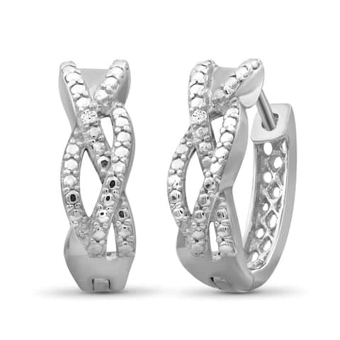 JewelonFire Accent Genuine White Diamond Braided Hoop Earrings in Sterling Silver - Assorted color
