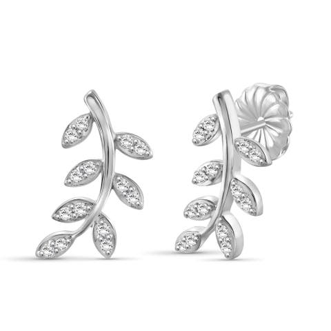 JewelonFire 1/4 Ct Genuine White Diamond Leaf Earrings in Sterling Silver - Assorted color