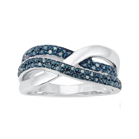 Sterling Silver with 1.8 CTTW Genuine Blue Diamond Promise Ring