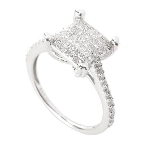 Sterling Silver with Invisible Set Genuine White Diamond Princess Cut Basket Ring