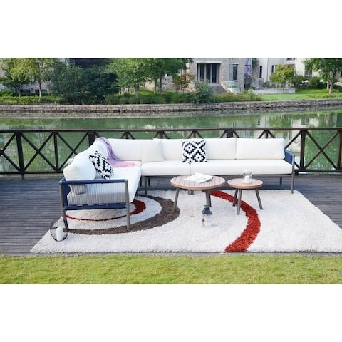 Moda 6-Piece Outdoor Rope Woven Sofa Set Deep Seating