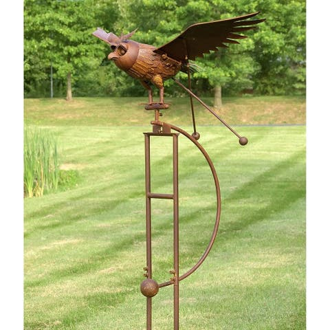 Large Iron Rocking Owl with Moving Wings Garden Stake by Havenside Home