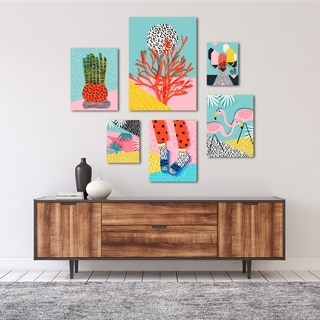Funky Modern Tropical Graphic Art Canvas Set
