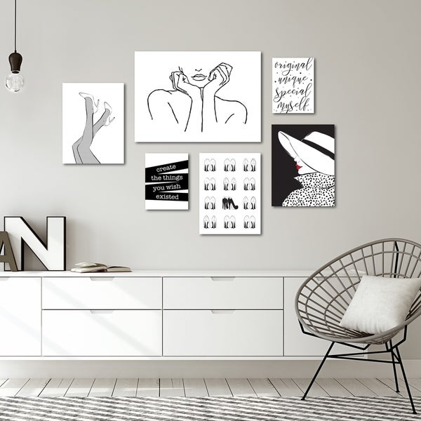 Fashion Line Art Canvas Gallery Wall Set
