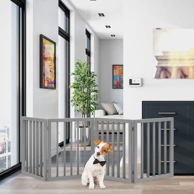 4 Panel Freestanding Wooden Pet Gate by PETMAKER