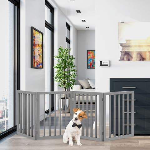 4 Panel Freestanding Wooden Pet Gate by PETMAKER
