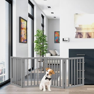 Link to 4 Panel Freestanding Wooden Pet Gate by PETMAKER Similar Items in Dog Furniture