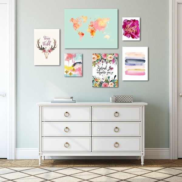 Colorful Modern Watercolor Canvas Art Set