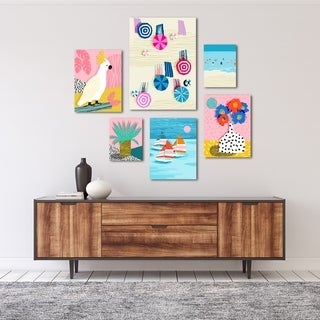 Funky Tropical Beach Graphic Art Canvas Set