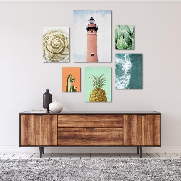 Modern Coastal Beach House Canvas Photography Art Set