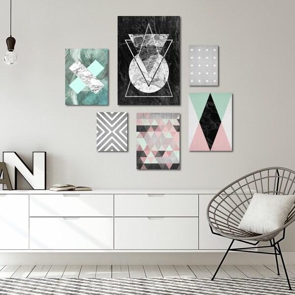 Modern Geometric Abstract Canvas Art Set