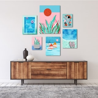 Funky Modern Tropical Pool Graphic Art Canvas Set
