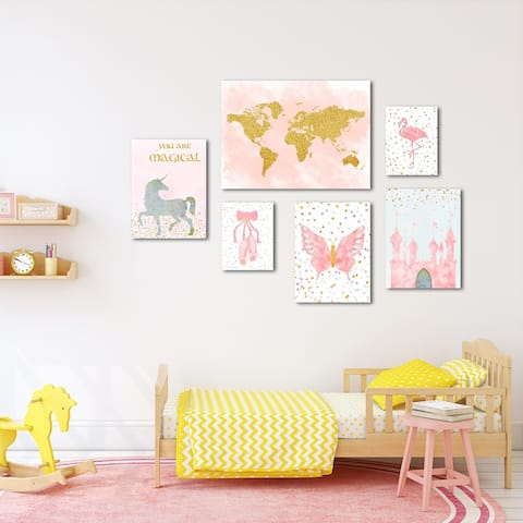 Pink & Gold Children's Canvas Art Set