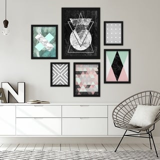 Modern Geometric Abstract Framed Art Set