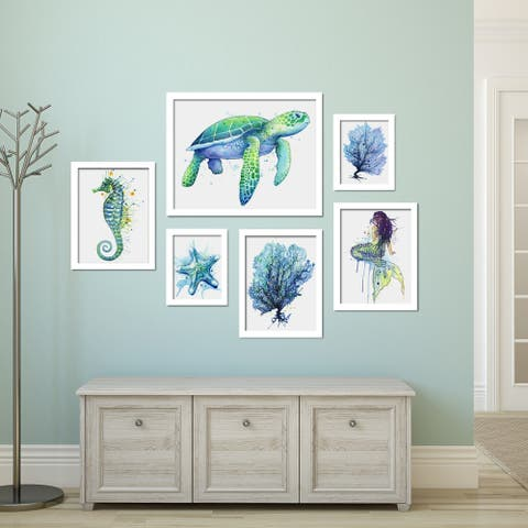 Coastal Watercolor Artwork Framed Gallery Wall Set
