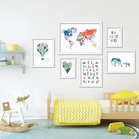 Colorful Children's Artwork Framed Gallery Wall Set
