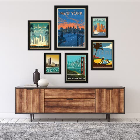 United States Cities by Anderson Design Group Framed Art Set
