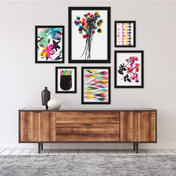 Colorful Abstract Contemporary Florals Framed Art Set. Opens flyout.